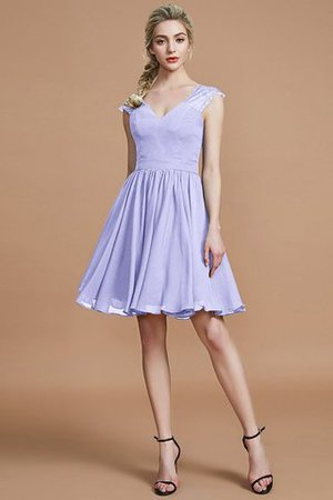 Ärmelloses Prinzessin Normale Taille V-Ausschnitt Knielanges Brautjungfernkleid 1N1srRTuQ