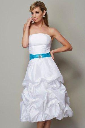 Ärmellos Mini Wadenlanges Brautjungfernkleid mit Reißverschluss aus Taft FJxnkEv