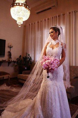 Normale Taille Meerjungfrau Gericht Schleppe Ärmelloses Brautkleid mit Bordüre nf1rGY