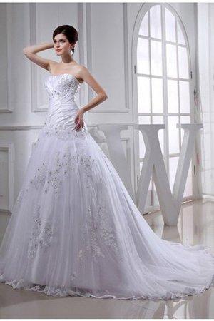 Kapelle Schleppe Empire Taille Perlenbesetztes Brautkleid aus Taft mit Applikation cnzBBfFXd