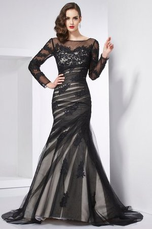 Langärmeliges Satin Sweep train Ballkleid mit Juwel Ausschnitt mit Applikation QwwBJh8