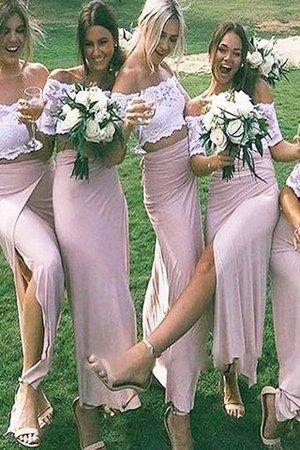 Schulterfrei Normale Taille Enges Bodenlanges Brautjungfernkleid mit Kurzen Ärmeln cwDKJPxNQ