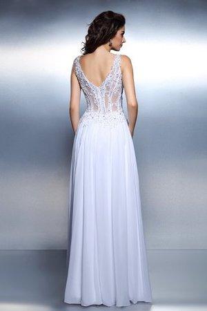 Prinzessin Chiffon Bodenlanges Abendkleid mit Schaufel Ausschnitt mit Applike DyHxp