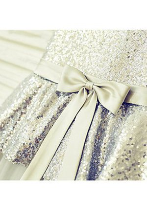 Ärmellos Prinzessin Schaufel-Ausschnitt Paillette Bodenlanges Blumenmädchenkleid SNbnK