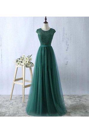 Schaufel-Ausschnitt A-Linie Prinzessin Bodenlanges Abendkleid aus Tüll JscioHkzq