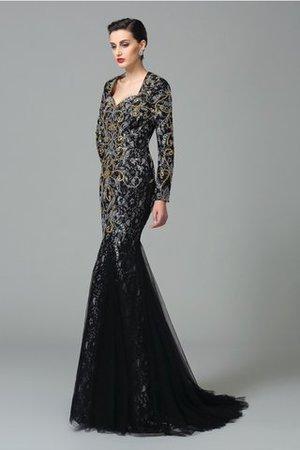 Herz-Ausschnitt Normale Taille Anständiges Abendkleid mit Perlen mit Langen Ärmeln ZcSXMY