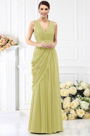 Empire Taille Ärmelloses Prinzessin Bodenlanges Brautjungfernkleid aus Chiffon OXr6K
