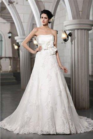 Trägerloser Ausschnitt Empire Taille Ärmellos Anständiges Brautkleid mit Blume wqS7GoqY