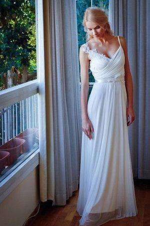 Rückenfreies Gerüschtes Perlenbesetztes Bodenlanges Brautkleid mit Gürtel - Bild 1