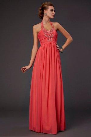 Natürliche Taile Prinzessin A Linie Nackenband Abendkleid mit Blume 453ahf
