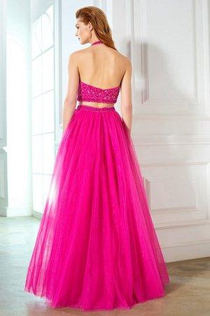 A-Linie Zweistück Reißverschluss Bodenlanges Abendkleid mit Natürlicher Taille Dtb3C