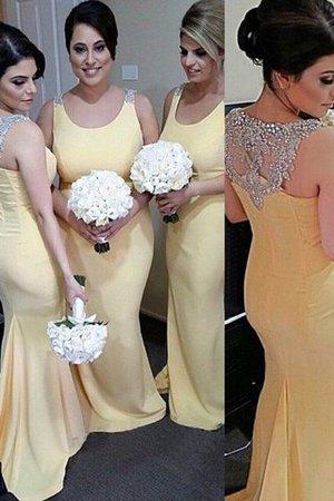Schaufel-Ausschnitt Ärmelloses Normale Taille Satin Brautjungfernkleid mit Perlen nSkhS