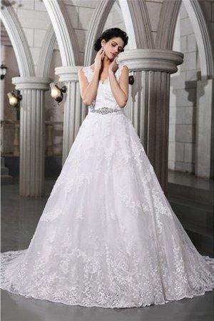 Empire Taille V-Ausschnitt Organza Brautkleid mit Applike mit Perlen FbtRRs