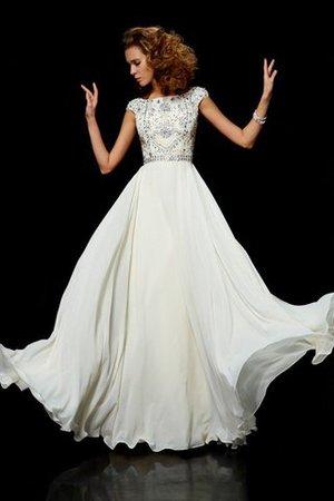 Hoher Ausschnitt Duchesse-Linie Chiffon Bodenlanges Abendkleid mit kurzen Ärmeln XEiJycEJ
