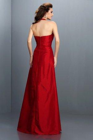 Nackenband Ärmelloses Bodenlanges Abendkleid mit Natürlicher Taille aus Taft wXZpVJ7oh