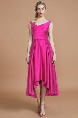 Asymmetrisch V-Ausschnitt Prinzessin A-Line Brautjungfernkleid aus Satin BEeXG
