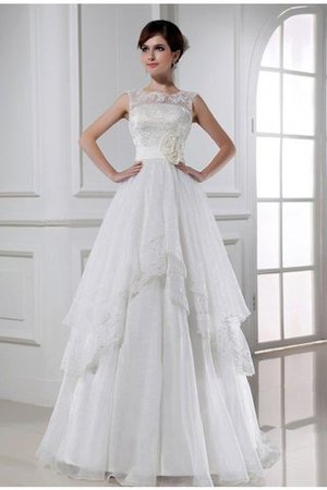 Prinzessin Ärmelloses Organza Brautkleid mit Empire Taille mit Blume t0T5ce