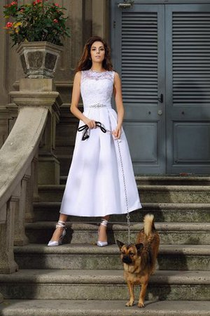 Prinzessin A-Linie Satin Knöchellanges Brautkleid mit Empire Taille b0Idv1hDWb