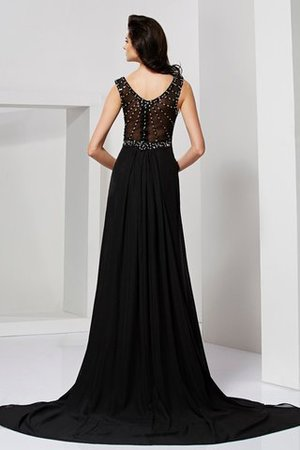 Chiffon Etui Perlenbesetztes Abendkleid mit Rüschen mit Reißverschluss wny19s