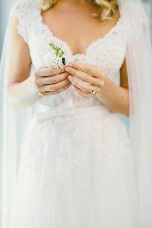 Prinzessin A-Linie Ärmelloses Bodenlanges Brautkleid mit Bordüre RuSwDy