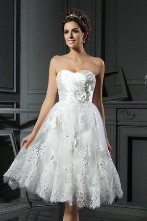 Prinzessin Empire Taille Gerüschtes Mini Brautkleid aus Satin aCYMthBZLG
