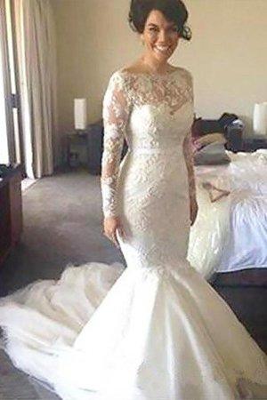 Lange Ärmeln A-Line Prinzessin Bootsförmiger Ausschnitt Brautkleid aus Tüll MgadSd