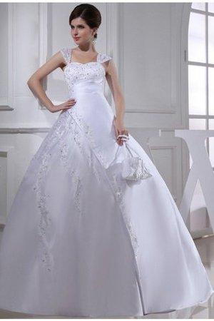 Perlenbesetztes Satin Anständiges Brautkleid mit Stickerei mit Rücken Schnürung kEDuLx7frN