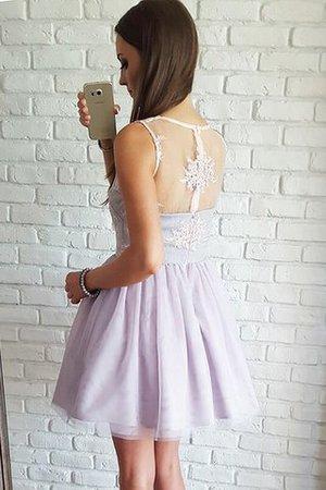 Ärmelloses Normale Taille Prinzessin Mini Abiballkleid aus Tüll nuH9X