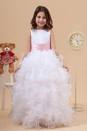 Prinzessin Ärmelloses Schaufel-Ausschnitt A-Linie Bodenlanges Blumenmädchenkleid IhEwSgJ