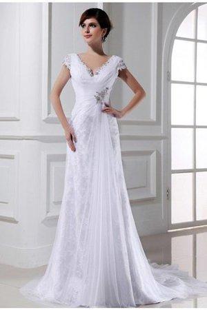 Perlenbesetztes Prinzessin Gericht Schleppe Brautkleid mit Empire Taille mit Applike D4m8r2fNHC