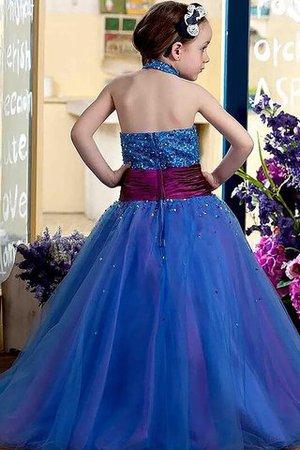 Tüll Duchesse-Linie Normale Taille Bodenlanges Blumenmädchenkleid mit Blume 3OIvn