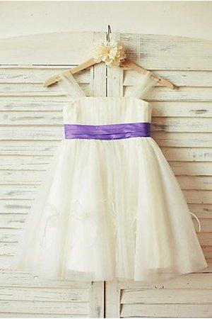 A-Line Prinzessin Reißverschluss Empire Taille Blumenmädchenkleid aus Tüll nLVXgU0UQl