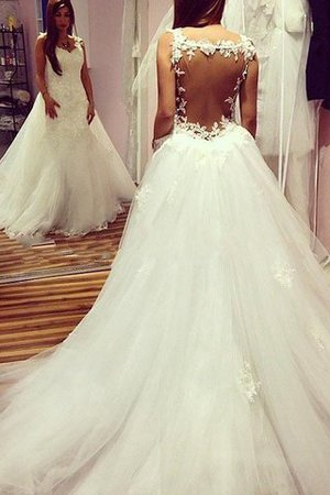 Normale Taille Ärmelloses Tüll Duchesse-Linie Herz-Ausschnitt Brautkleid - Bild 1