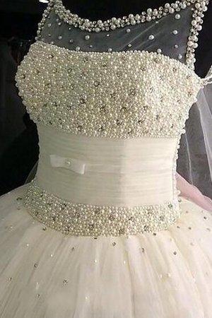 Tüll Duchesse-Linie Normale Taille Brautkleid ohne Ärmeln mit Schaufel Ausschnitt mxvR8GcC