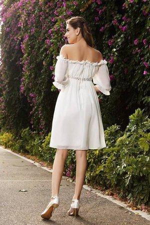Schulterfreier Ausschnitt Chiffon a linie Perlenbesetztes Mini Brautkleid tESWLB