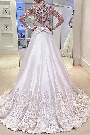 Prinzessin Normale Taille A-Linie Satin Lange Ärmeln Brautkleid n2qgBj