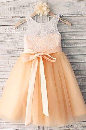 Normale Taille Prinzessin a linie Blumenmädchenkleid mit Schleife mit Gürtel AFVgihO