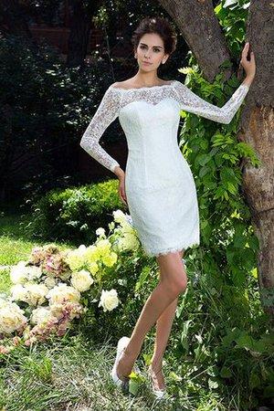 Langärmeliges Etui Reißverschluss Schaufel-Ausschnitt Mini Brautkleid E6noUiwn
