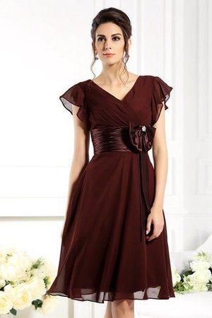 Chiffon Prinzessin Kurze Ärmeln Reißverschluss Brautmutterkleid mit Empire Taille GXCnOu1b3