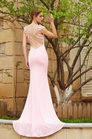 Perlenbesetztes Sweep Zug Meerjungfrau Juwel Ausschnitt kurze Ärmeln Abendkleid yeV6Y