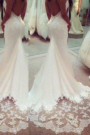 Ärmelloses Normale Taille Satin Meerjungfrau Stil Brautkleid mit Spaghettiträger 5n5kCn