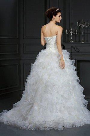 Ärmelloses Herz-Ausschnitt Normale Taille Anständiges Brautkleid mit Blume ENu3eqTy