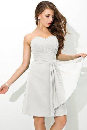 Reißverschluss Plissiertes Enganliegendes Kurzes Brautjungfernkleid aus Chiffon 8RtpFO