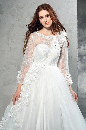 Normale Taille Langärmeliges Anständiges Brautkleid mit Blume mit Reißverschluss K6QgER1A