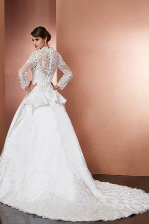 Normale Taille Satin Lange Ärmeln Reißverschluss Brautkleid mit V-Ausschnitt JaZn4y