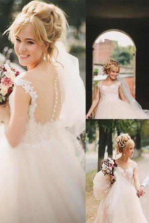 Prinzessin Natürliche Taile A-Line Brautkleid aus Tüll mit Schaufel Ausschnitt 5wUOa