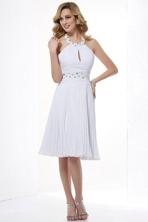 Ärmellos Normale Taille Prinzessin Perlenbesetztes Mini Brautjungfernkleid 9URJ2
