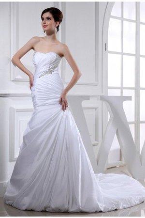 Taft Trägerlos Meerjungfrau Empire Taille Brautkleid ohne Ärmeln PgwHcSw