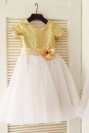 Prinzessin A-Linie Reißverschluss Normale Taille Bodenlanges Blumenmädchenkleid 5RkC6b