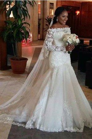 Tüll Schulterfreier Ausschnitt Normale Taille Meerjungfrau Brautkleid mit Bordüre EovhbO1Rq